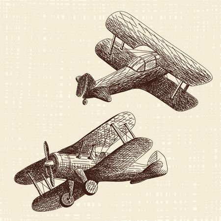 pilot cockpit: Hand drawn airplanes set Illustration