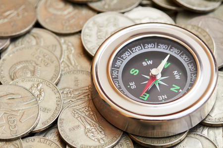 Compass and coins