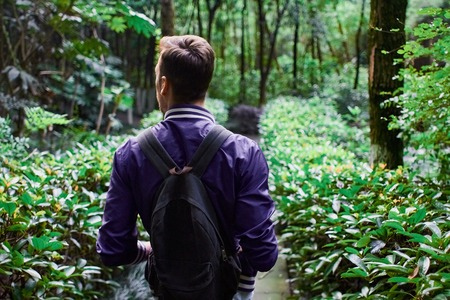 Man traveling in the forest with backpack Stock Photo