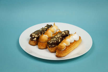 Exciting view of delicious eclairs