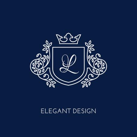 Simple and elegant monogram design template with letter L and crown. Vector illustration. Vektoros illusztráció