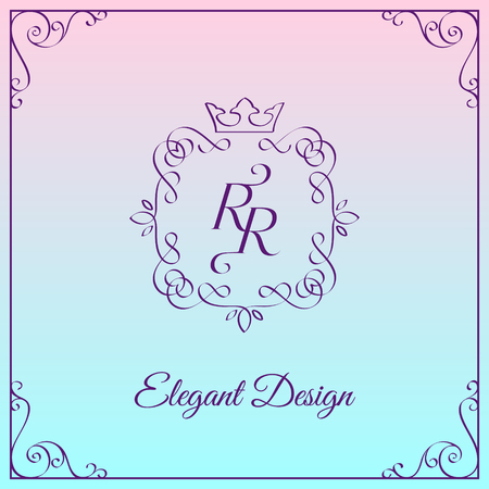 Simple and elegant monogram design template with double letter R. Vector illustration.