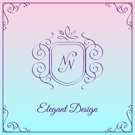 Simple and elegant monogram design template with double letter N. Vector illustration.