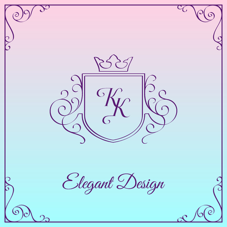 Simple and elegant monogram design template with double letter K. Vector illustration.