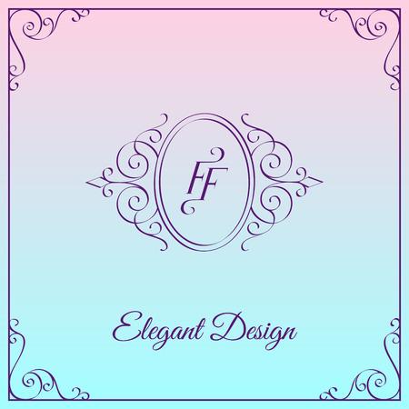 Simple and elegant monogram design template with double letter F. Vector illustration.