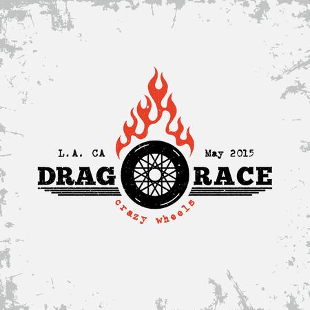 Vintage label with wheel and flame on grunge background for t-shirt print, poster, emblem. Vector illustration.