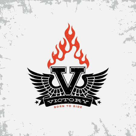 Vintage label with wings, flame, letter V and ribbon on grunge background for t-shirt print, poster, emblem. Vector illustration. Illustration