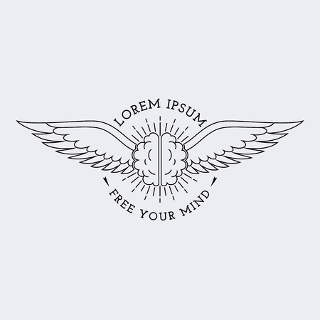 brain illustration: Template for logos, labels and emblems in outline style with brain and wings. Vector illustration.