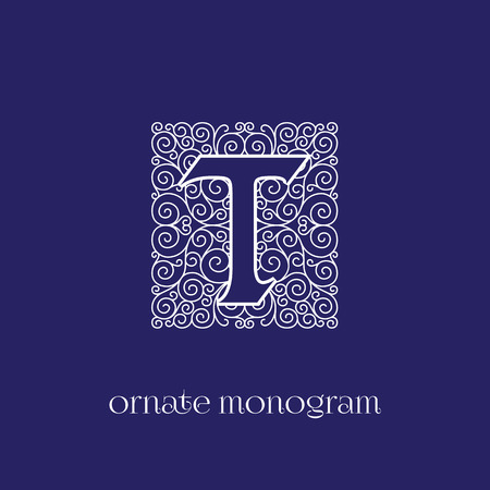 Ornate and elegant monogram design for a single letter T. Outline. Vector illustration.