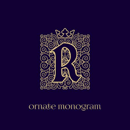 Ornate and elegant monogram design for a single letter R with crown. Outline. Vector illustration.