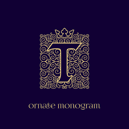 Ornate and elegant monogram design for a single letter T with crown. Outline. Vector illustration.