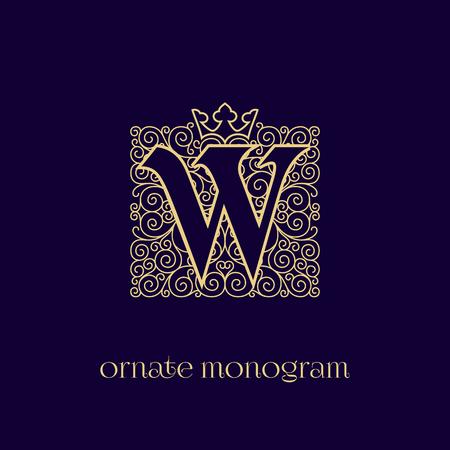 Ornate and elegant monogram design for a single letter W with crown. Outline. Vector illustration. Illustration