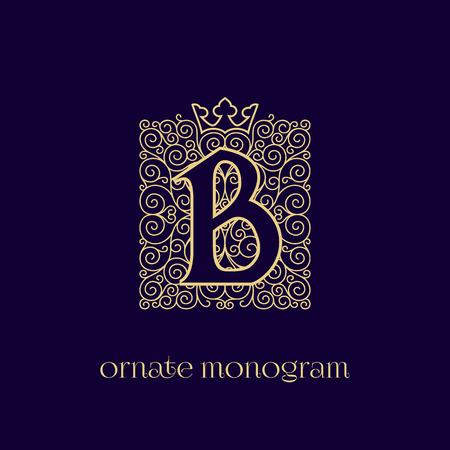 Ornate and elegant monogram design for a single letter B with crown. Outline. Vector illustration.  イラスト・ベクター素材