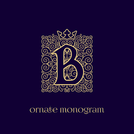 Ornate and elegant monogram design for a single letter B with crown. Outline. Vector illustration. Stock Illustratie