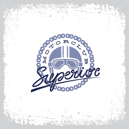 Vintage label with helmet, goggles, chain and lettering word 'Superior' on grunge background for t-shirt print, poster, emblem. Vector illustration.
