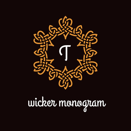 Template design for monogram, label, logo with letter T in overlapped style. Vector illustration.