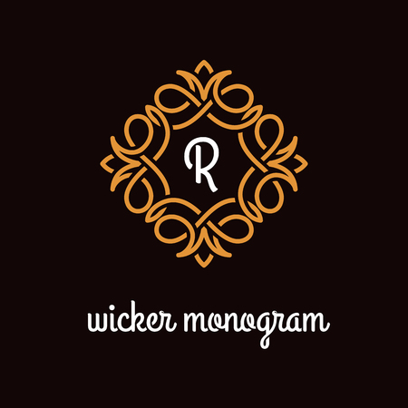 Template design for monogram, label, logo with letter R in overlapped style. Vector illustration.