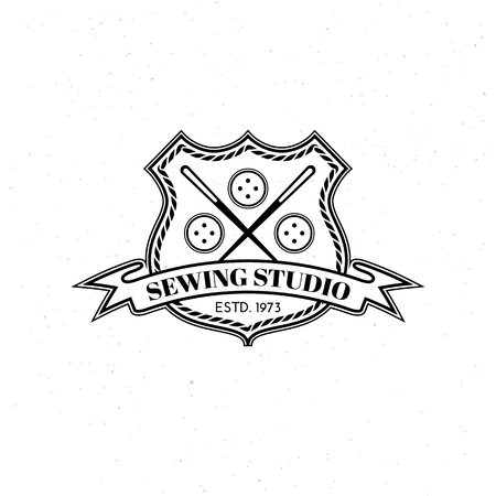 Template for logos, labels, emblems with two needles, buttons, shield and ribbon. Vector illustration. Illustration