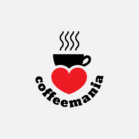 mania: Template for logos, labels, t-shirt print, poster, emblems for coffee house, cafe, coffee shop, restaurant, coffee store, teahouse, etc. Vector illustration. Illustration