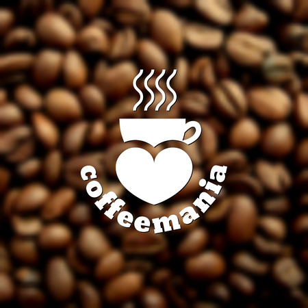 coffee beans: Template for logos, labels, emblems for coffee house, cafe, coffee shop, restaurant, coffee store, teahouse, etc. Vector illustration. Illustration