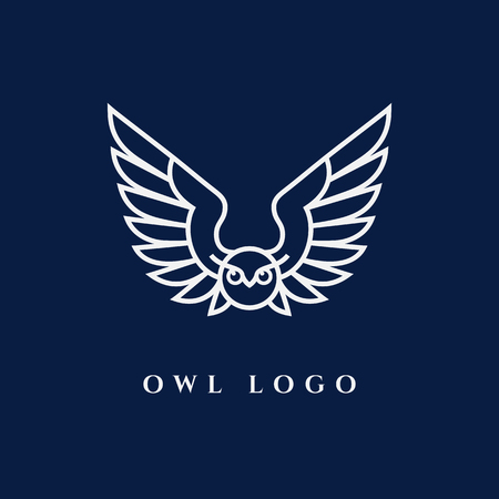 Template for logos, labels and emblems with white contour of owl. Vector illustration. Illustration