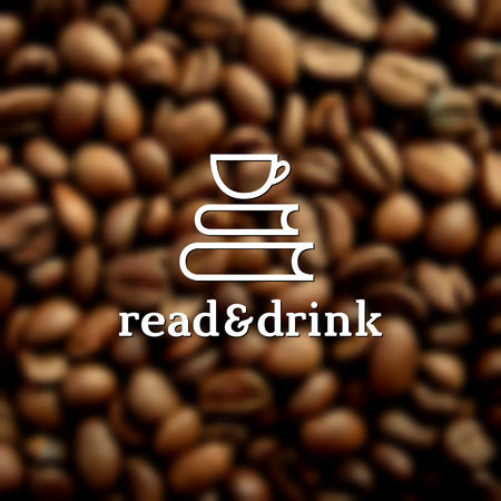 coffee beans: Template for logo, label, emblem, symbol for coffee house, cafe, coffee shop, restaurant, coffee store, teahouse, etc. Vector illustration.