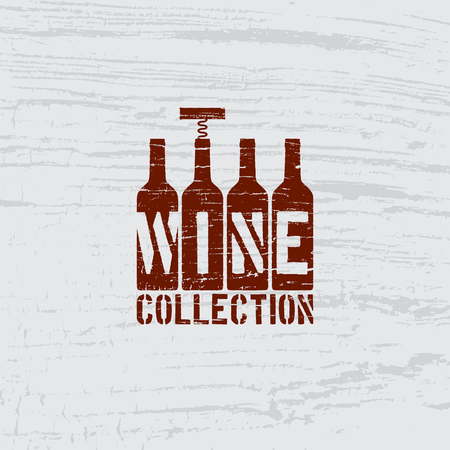Four bottles and corkscrew with scratches on wooden background. Vector illustration. Çizim