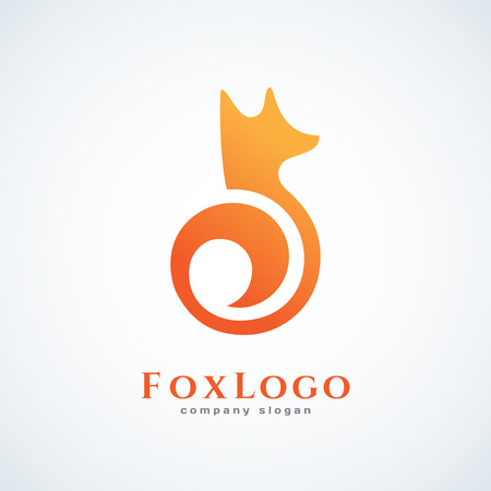 A Logo design template with fox. Vector illustration.