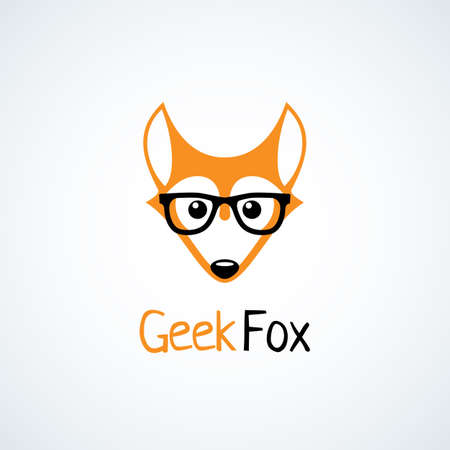 Geek logo design template with fox in glasses. Vector illustration. Illustration