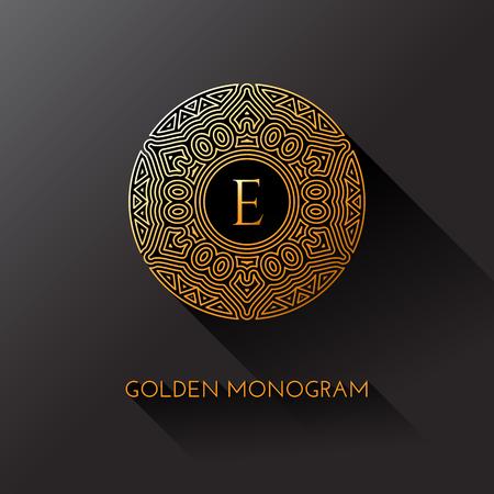 Monogramme élégant doré avec lettre E. Modèle de conception pour monogramme, étiquette, logo, emblème. Illustration vectorielle