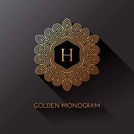 Monogramme élégant d'or avec lettre H. Modèle pour monogramme, étiquette, logo, emblème. Illustration vectorielle.