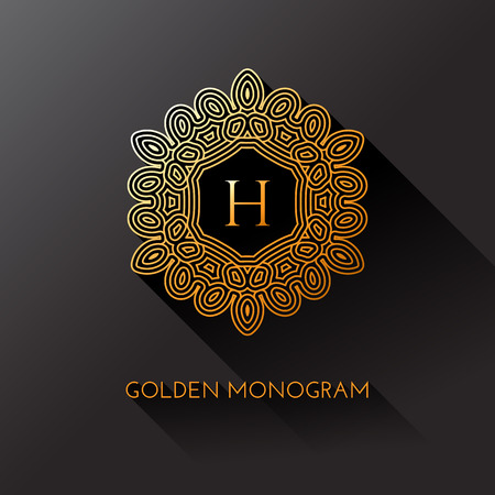 Golden elegant monogram with letter H. Template design for monogram, label, logo, emblem. Vector illustration.