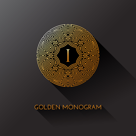 Golden elegant monogram with letter I. Template design for monogram, label, logo, emblem. Vector illustration. Иллюстрация