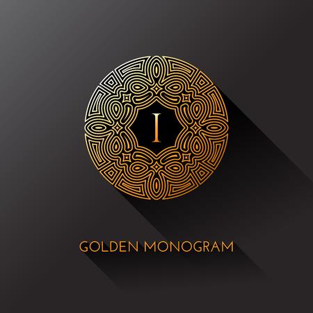 Monograma elegante de oro con la letra I. Diseño de la plantilla para el monograma, etiqueta, logotipo, emblema. Ilustración del vector.