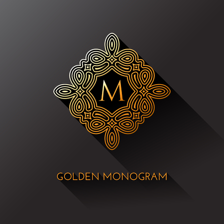 Golden elegant monogram with letter M. Template design for monogram, label, logo, emblem. Vector illustration.