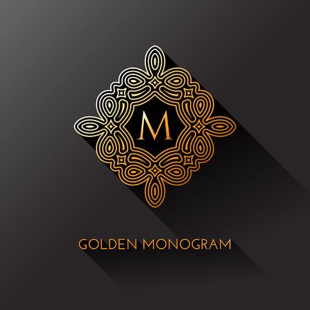 Gouden elegante monogram met letter M. Sjabloonontwerp voor monogram, label, logo, embleem. Vector illustratie.