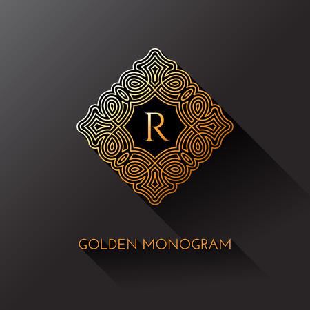 Golden elegant monogram with letter R. Template design for monogram, label, logo, emblem. Vector illustration.