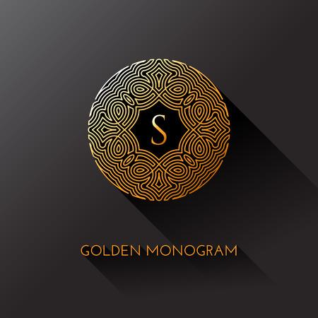Gouden elegante monogram met letter S. Sjabloonontwerp voor monogram, label, logo, embleem. Vector illustratie. Stock Illustratie