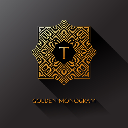 Golden elegant monogram with letter T. Template design for monogram, label, logo, emblem. Vector illustration.