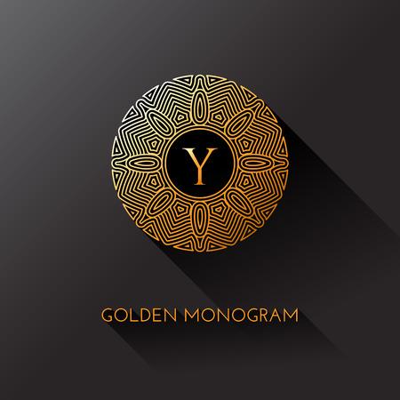 Golden elegant monogram with letter Y. Template design for monogram, label, logo, emblem. Vector illustration.