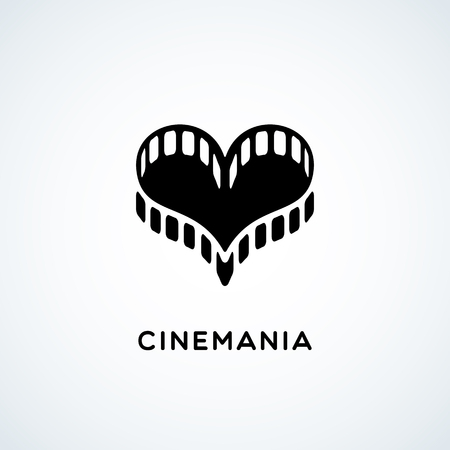 mania: Logo design template with film in the form of heart. Vector illustration.