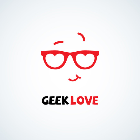 Geek logo design template with face in glasses in form of hearts . Vector illustration. Illustration