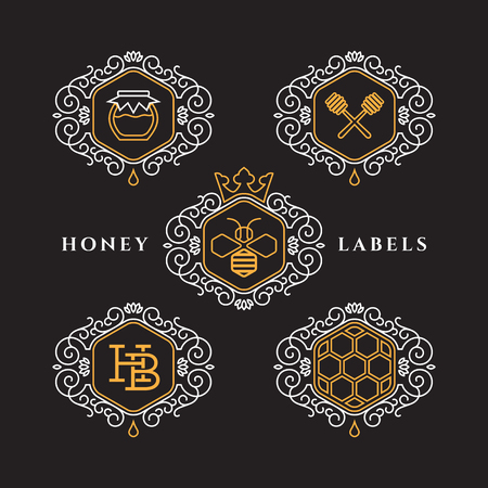 Set of templates design for honey bee labels with frame in outline style. Vector illustration. Illustration
