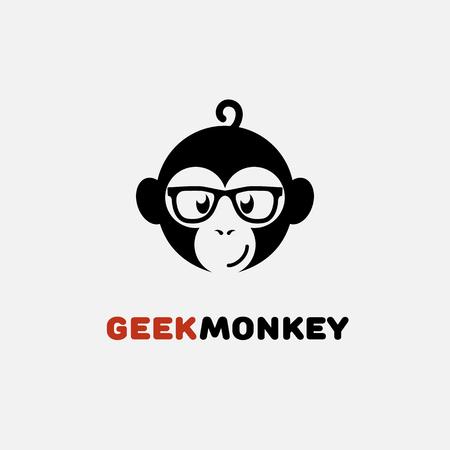 メガネで猿とオタクのロゴ デザイン テンプレートです。ベクトルの図。  イラスト・ベクター素材