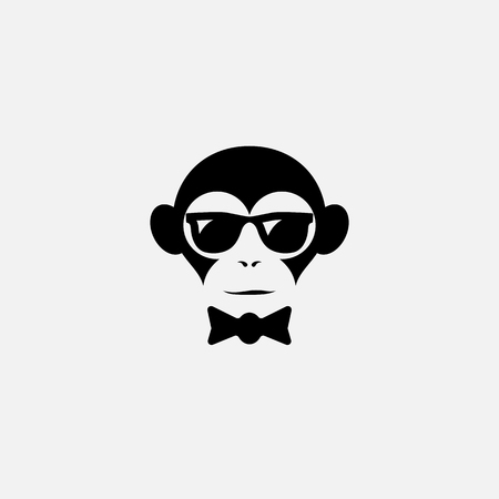 Funny logo design template with monkey in glasses and bow tie. Vector illustration.