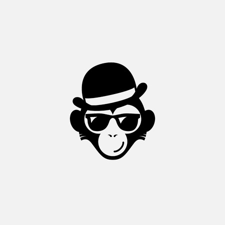 Funny logo design template with monkey in glasses and  hat. Vector illustration. Иллюстрация
