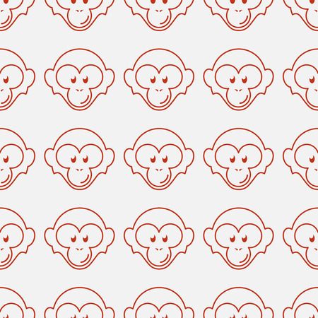 Seamless pattern with funny flat cartoon red monkey heads. Vector illustration.