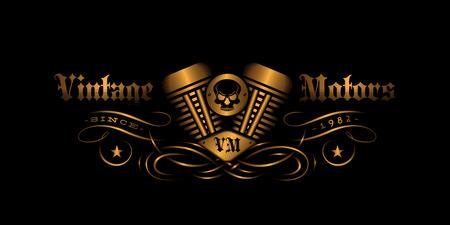 Vintage label design with engine for t-shirt print, poster, emblem. Vector illustration. Illustration