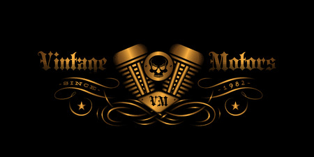Vintage label design with engine for t-shirt print, poster, emblem. Vector illustration. Çizim