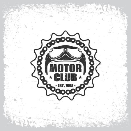 Vintage label with helmet, chain and cogwheel on grunge background for t-shirt print, poster, emblem. Vector illustration. Illustration